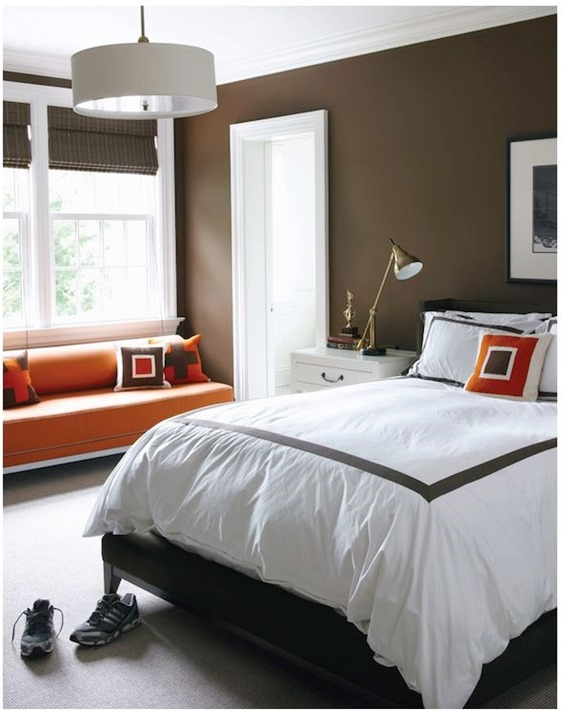 chocolate and orange bedroom
