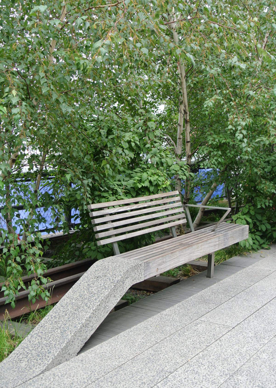 high line sloped park bench