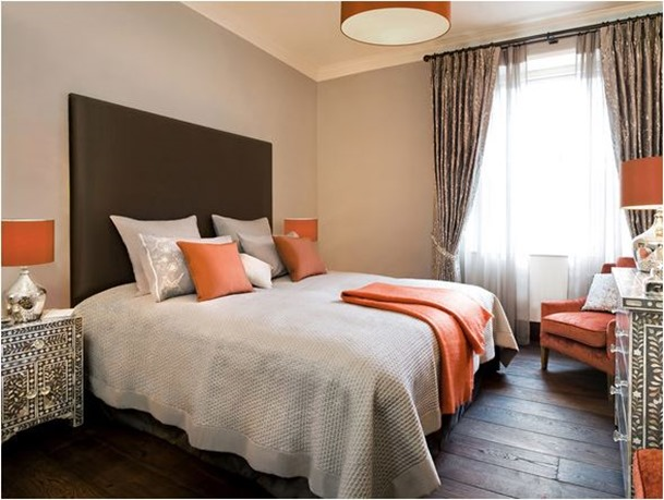 orange gray brown bedroom