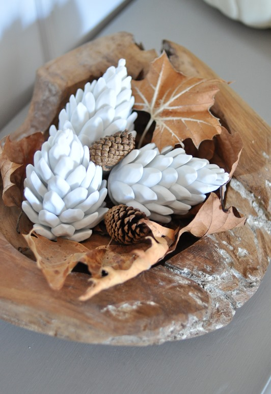 wood bowl with ceramic pinecones