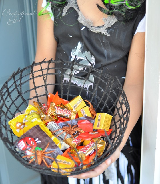 halloween candy in spiderweb bowl