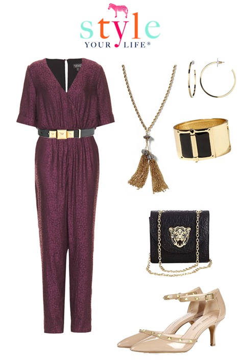 plum jumpsuit holiday outfit
