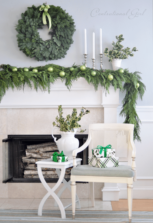 evergreen wreath and garland on mantel