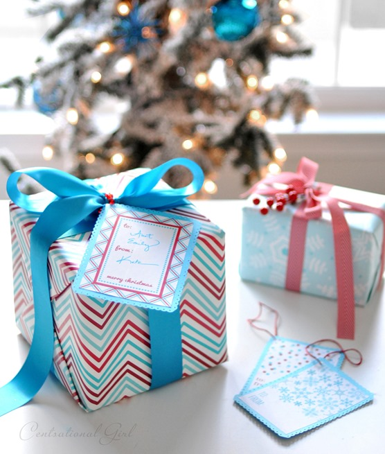 printable gift tag on wrapped present
