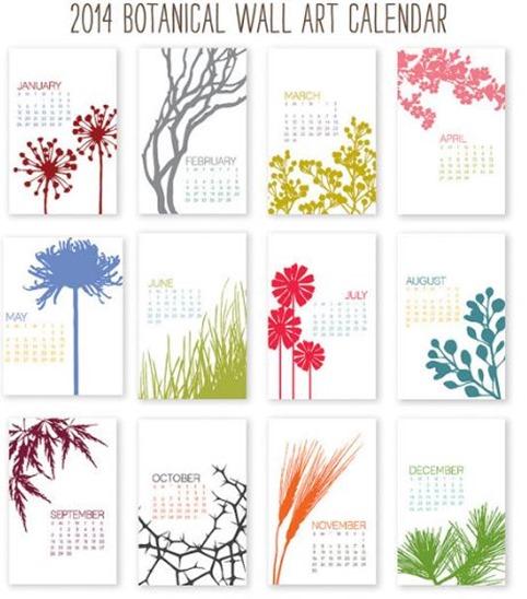 botancial wall calendar 2014