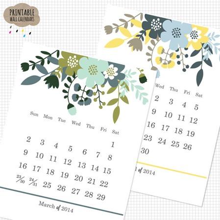 printable wildflowers calendar