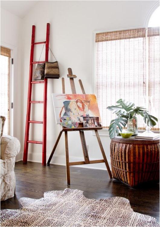 ladder easel printed cowhide rug