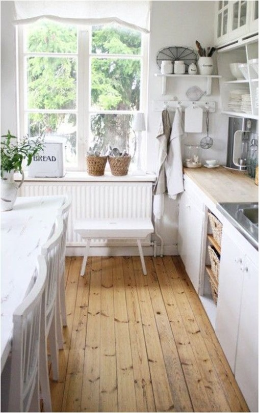 wood floors white kitchen