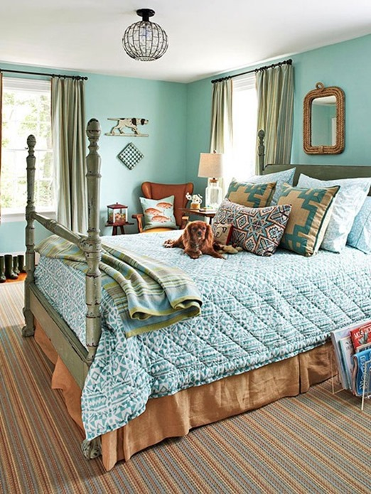 Awesome blue and green bedding bhg