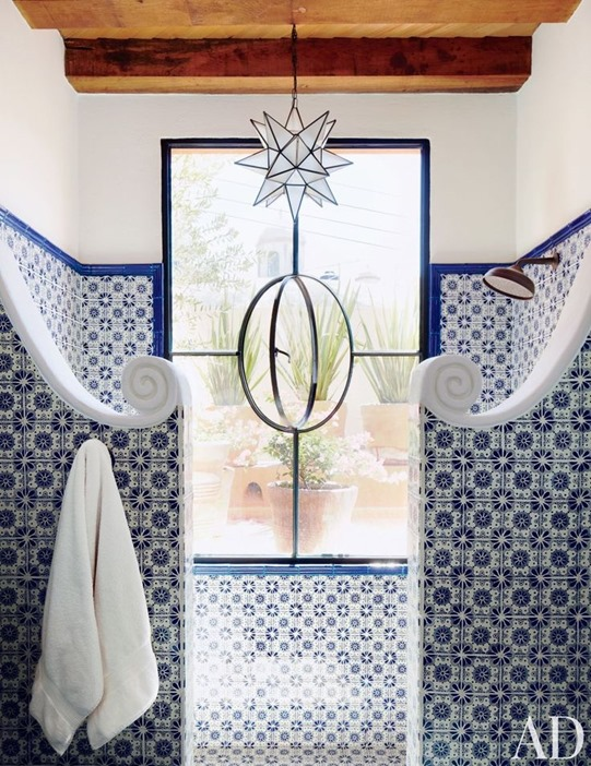 blue tile shower architectural digest
