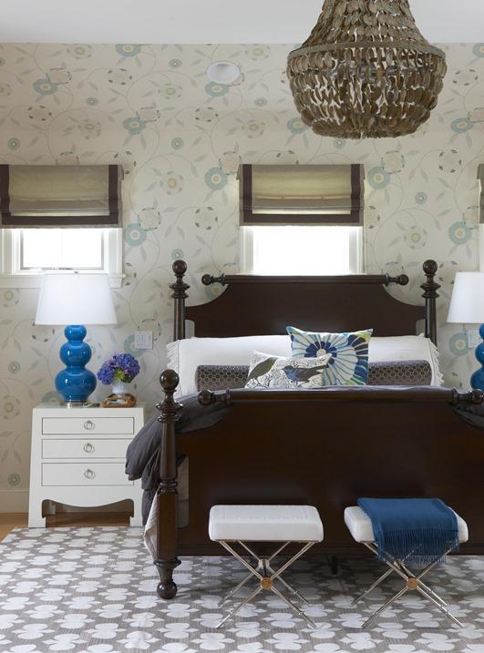 classic bedroom cobalt blue accents