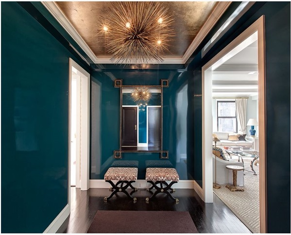 glossy peacock blue walls