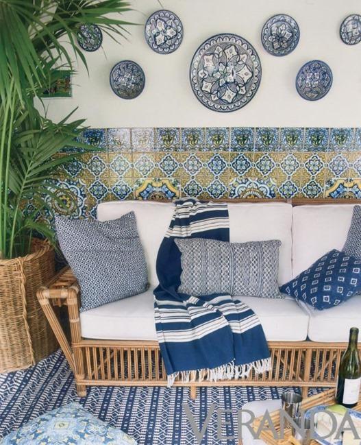 mixed blue textiles