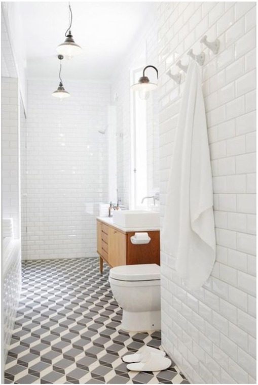 modern geometric pattern in bathroom