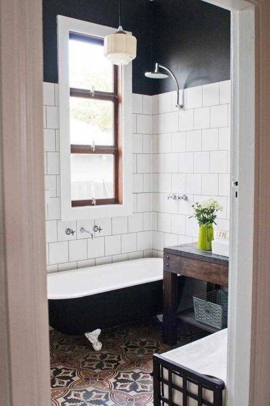 patterned tile floor in bathroom