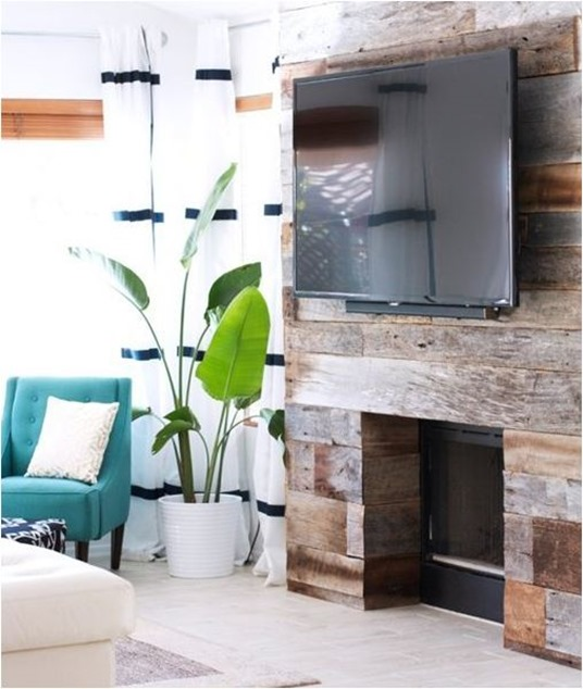reclaimed wood fireplace makeover