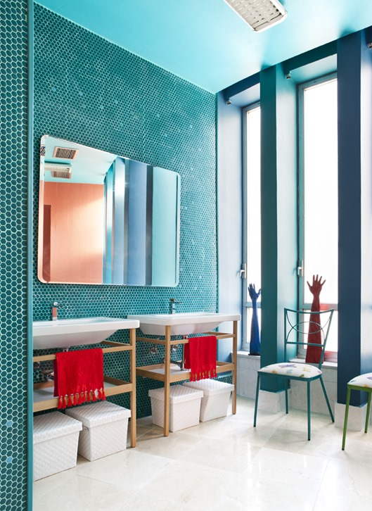 turquoise hexagon tile wall