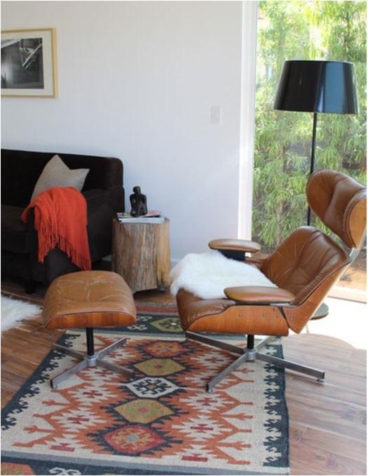 eames and kilim rug