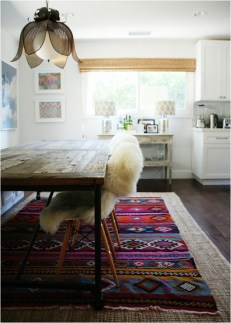 Handwoven Textiles Colorful Pattern Kilim Decor Rug in Dining Area