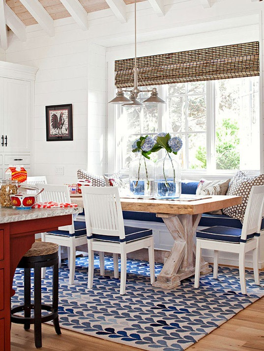 navy blue and white banquette