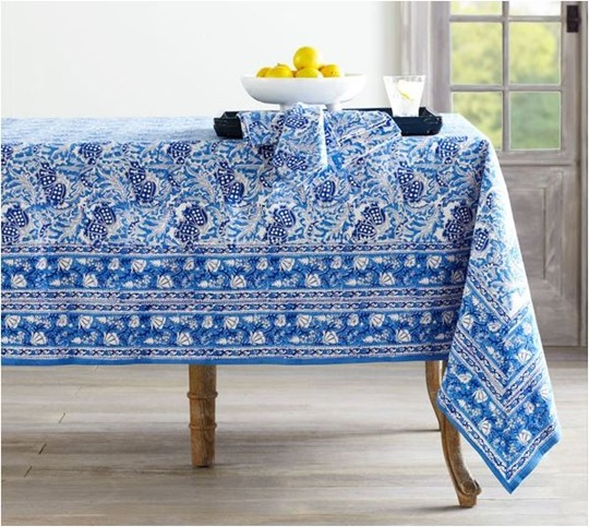 blockprint tablecloth wisteria