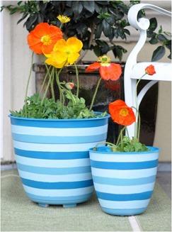 diy striped planters