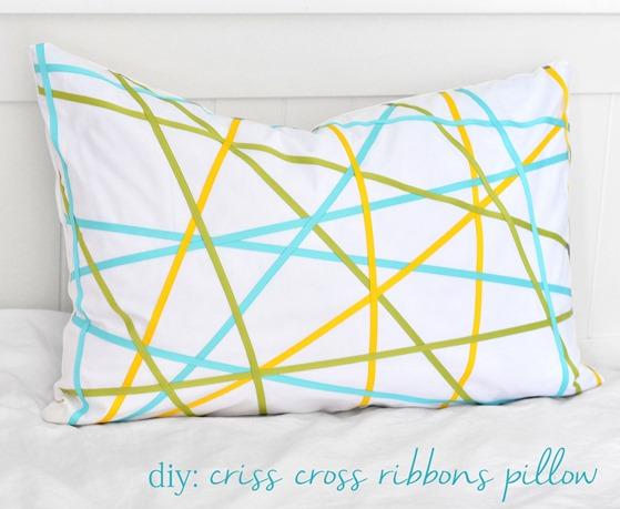 diy colorful criss cross ribbons pillow