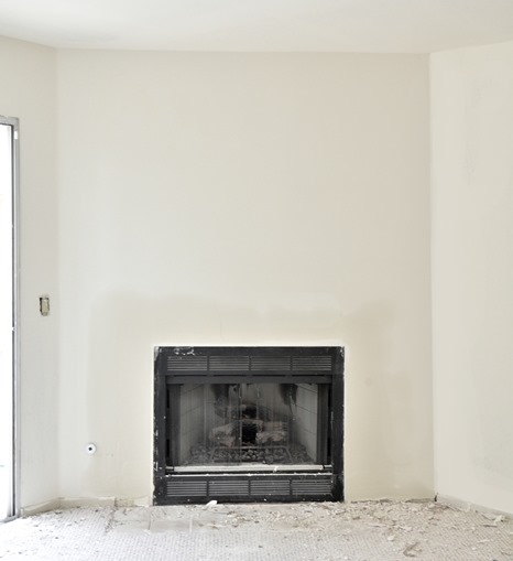 smooth fireplace wall