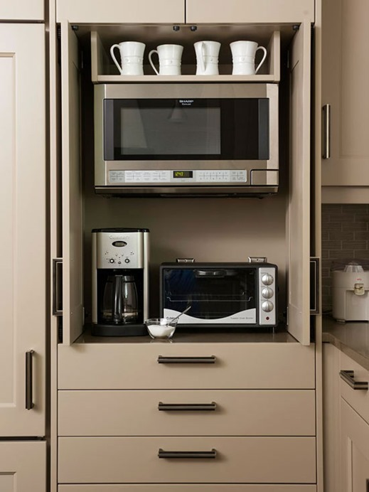Elegant Gray Cabinets With Appliance Storage