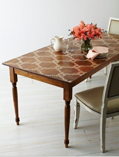 stain and stenciled table
