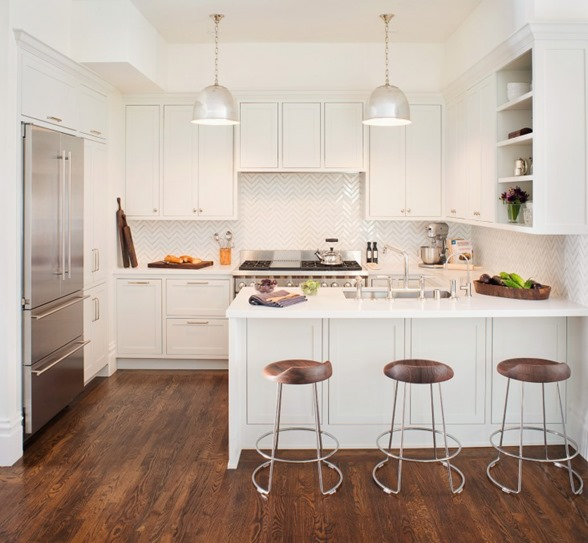 white kitchen wood flooring