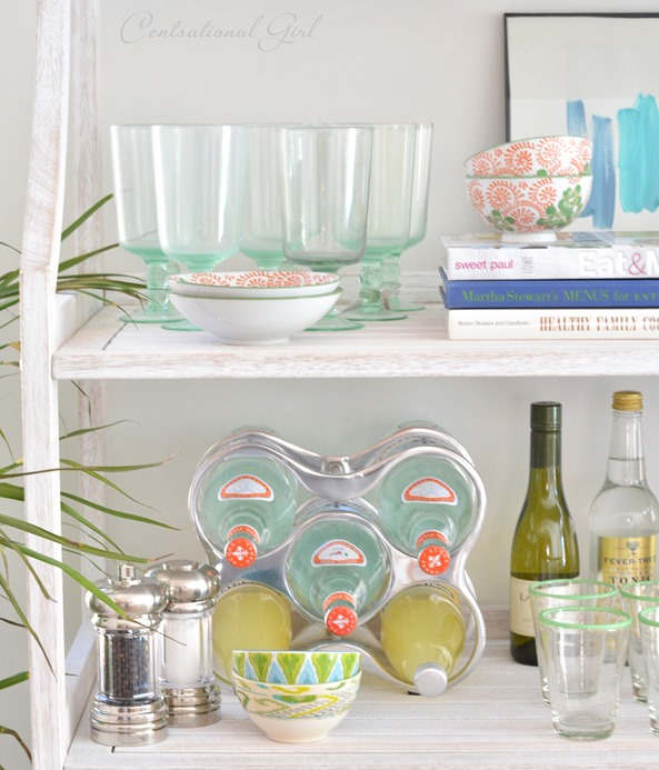 Elegant dishes on shelf