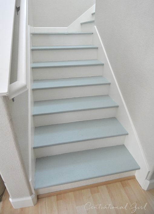 Exceptional Painted Blue And White Staircase