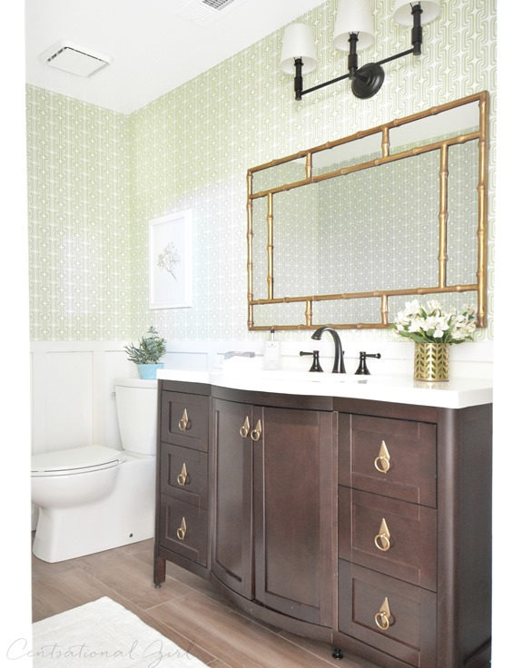Cool green gold bathroom makeover