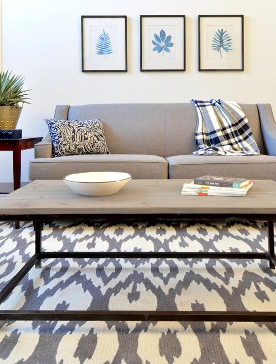 gray cream ikat geometric rug
