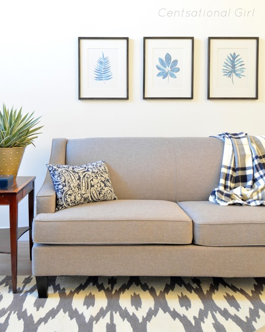 gray sofa navy accents