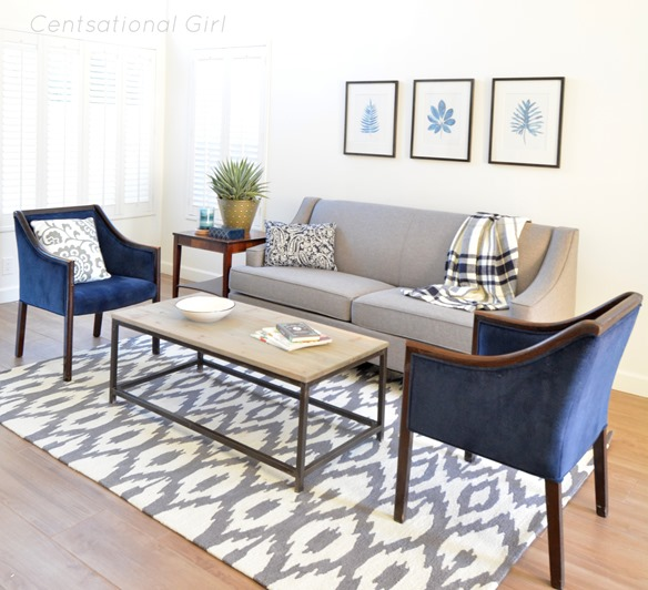 living room navy and gray
