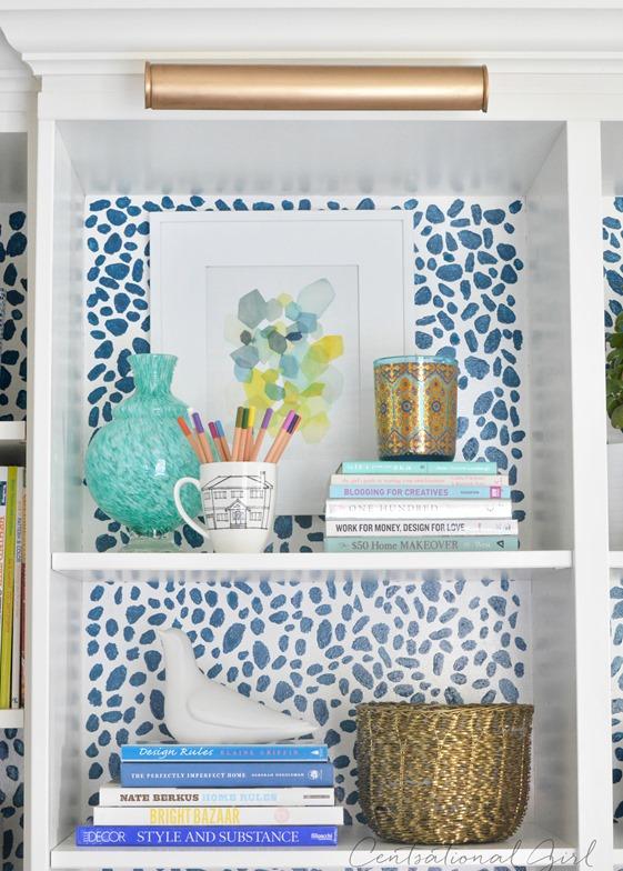 spots inside bookshelves up close