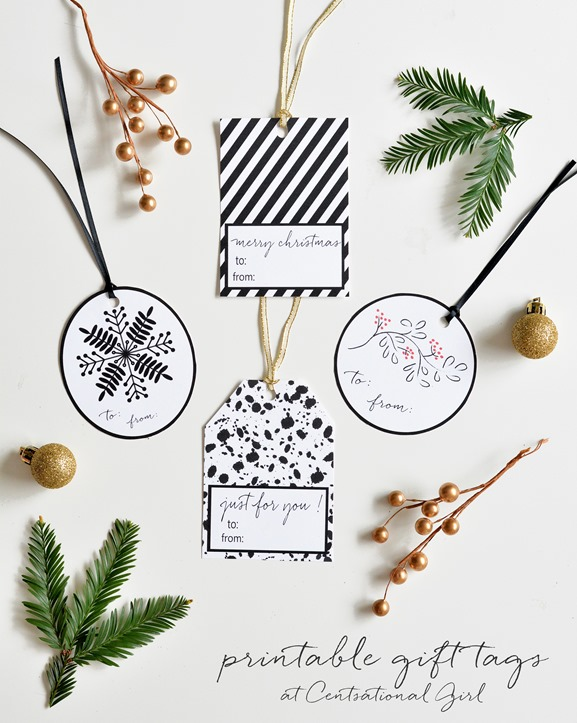 Black White Holiday Gift Tag Printables Centsational Style