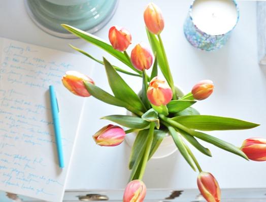 jounal and tulips