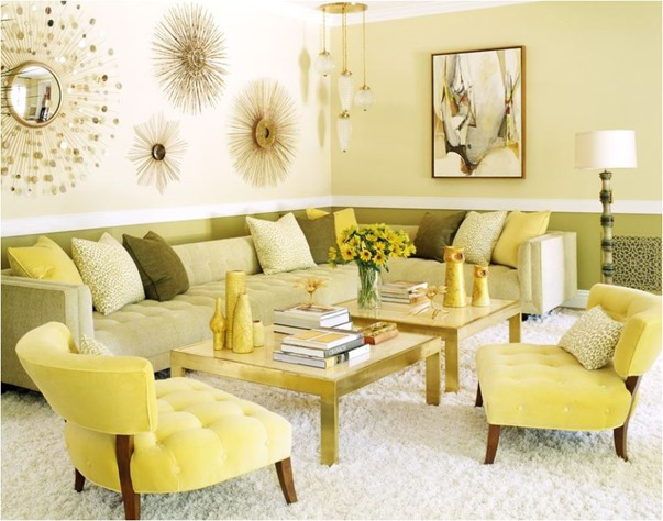 yellow and gold sitting room