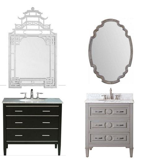 bathroom vanity and mirror combo