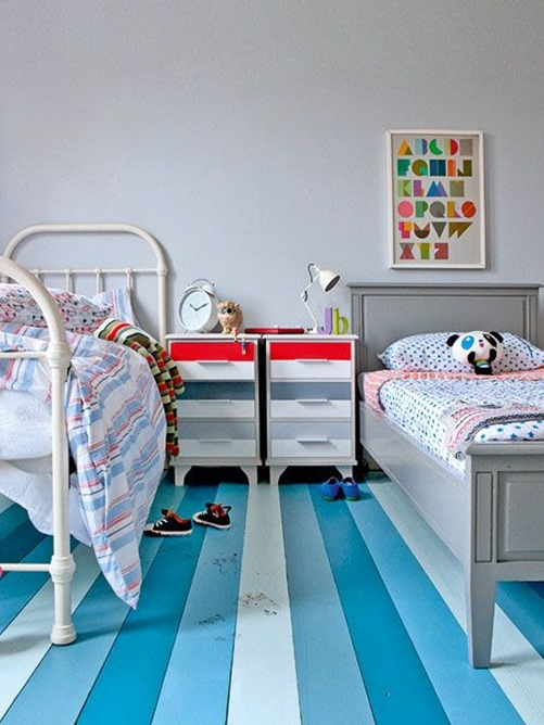 striped painted floors kids room