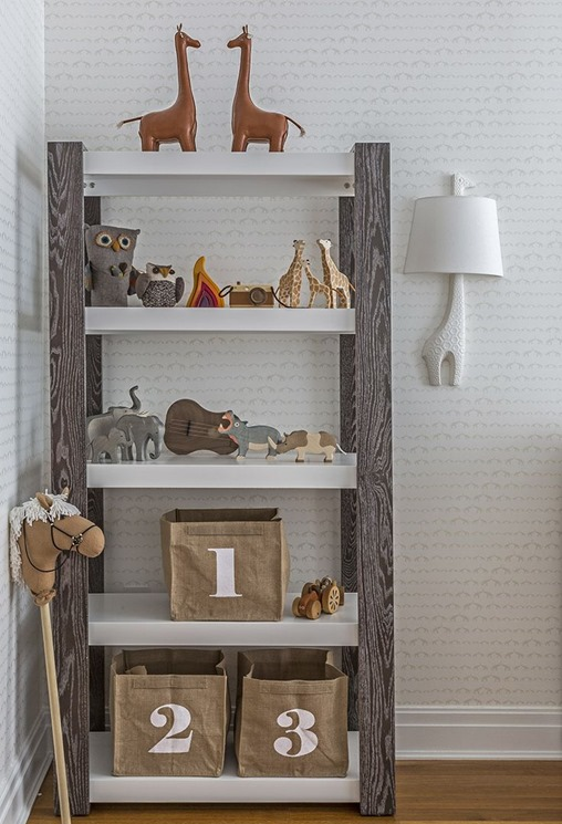 wood trimmed bookcases kids room
