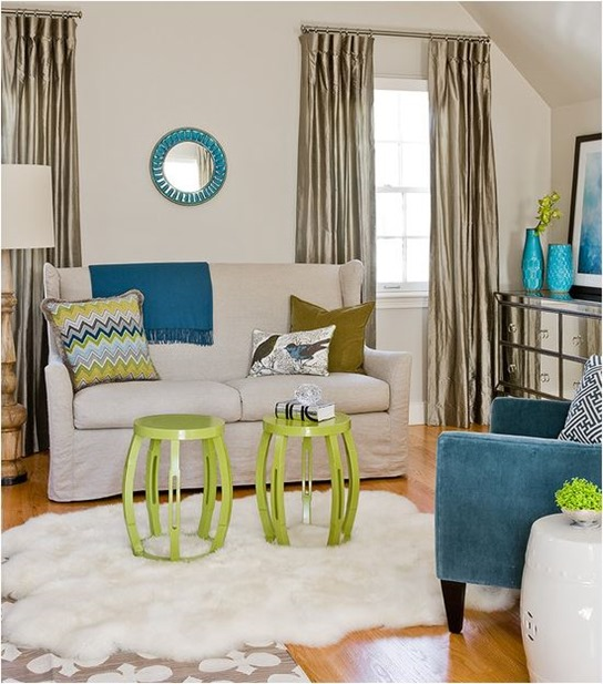 blue and green sitting room