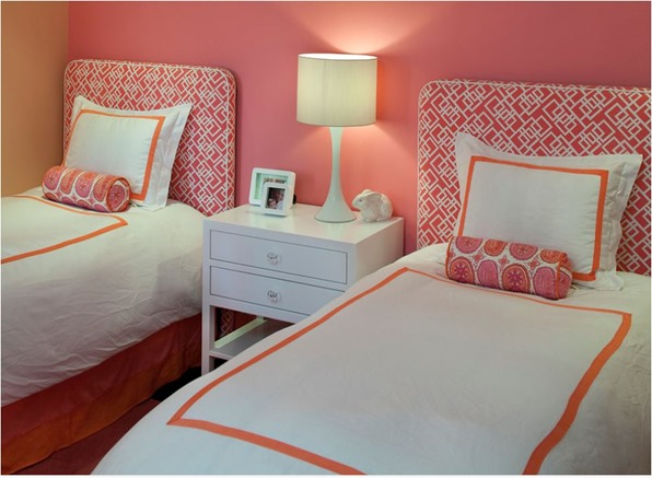 pink orange bedroom