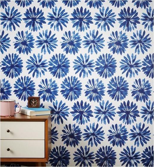 west elm blue floral