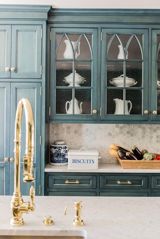 brass kitchen hardware under sink mat big comeback centsational style blue cabinets