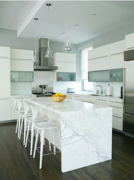 Lovely Waterfall Edge Island Marble Countertop