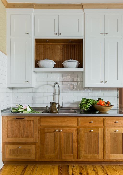 wood and white farmhouse kitchen